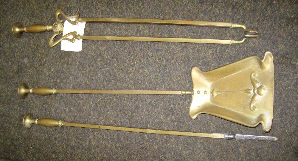 Antique Art Nouveau Brass Fire Irons
