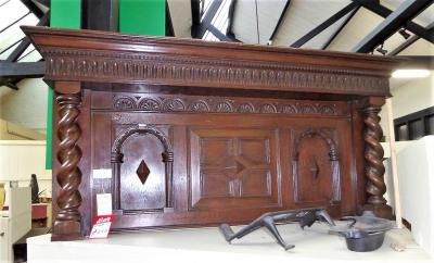 Antique Edwardian Oak Fire Surround Overmantel
