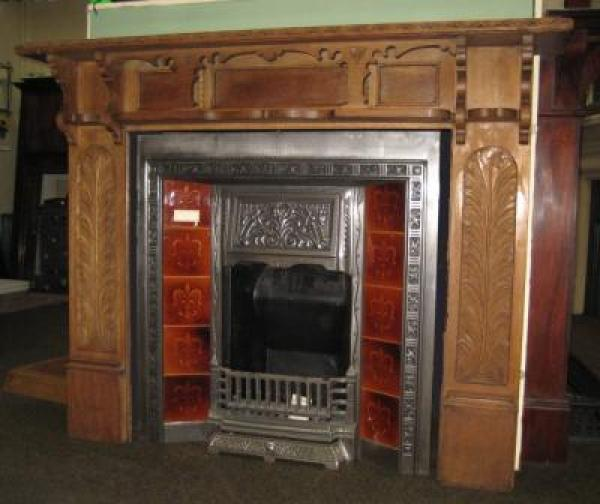 Antique Gotjic Carved Oak Surround