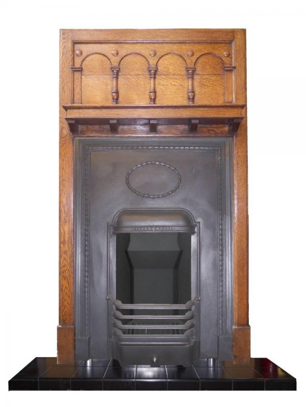 Antique Arts & Craft Fireplace Surround and Cast Iron Insert