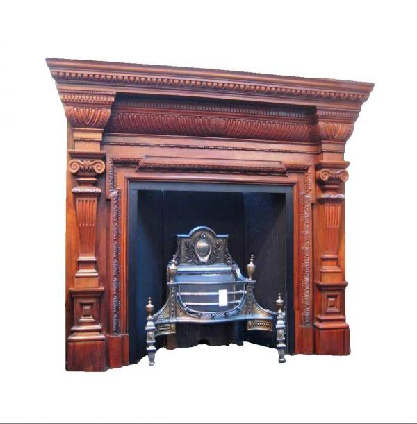 Antique Large Georgian Period Walnut and Mahogany Surround
