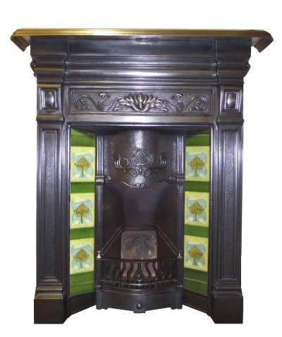 Antique Art Nouveau Burnished Cast Iron Combination Fireplace
