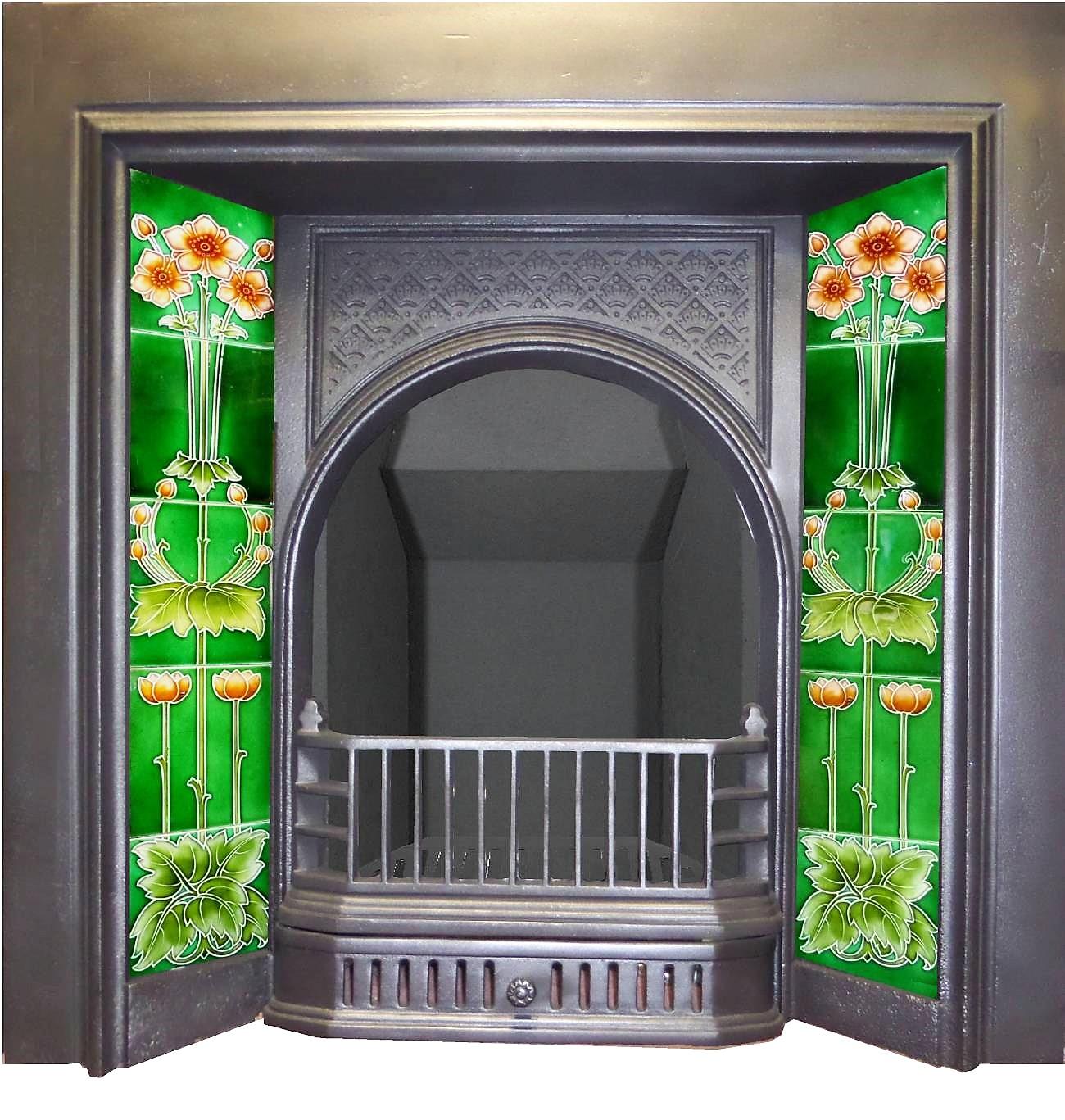 antique victorian edwardian cast iron fireplace insert for tiles