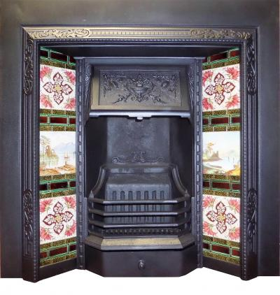 Antique Victorian Cast Iron Fireplace Insert with Tiles Reference: ATI 604 Price: £794
