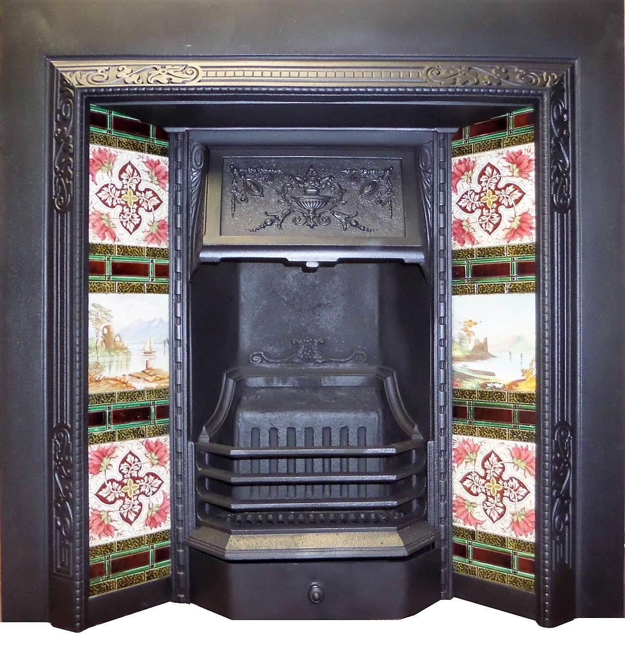 antique victorian cast iron fireplace insert with tiles