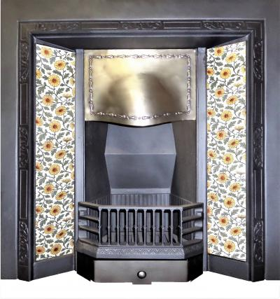 antique Brass tiled fireplace insert