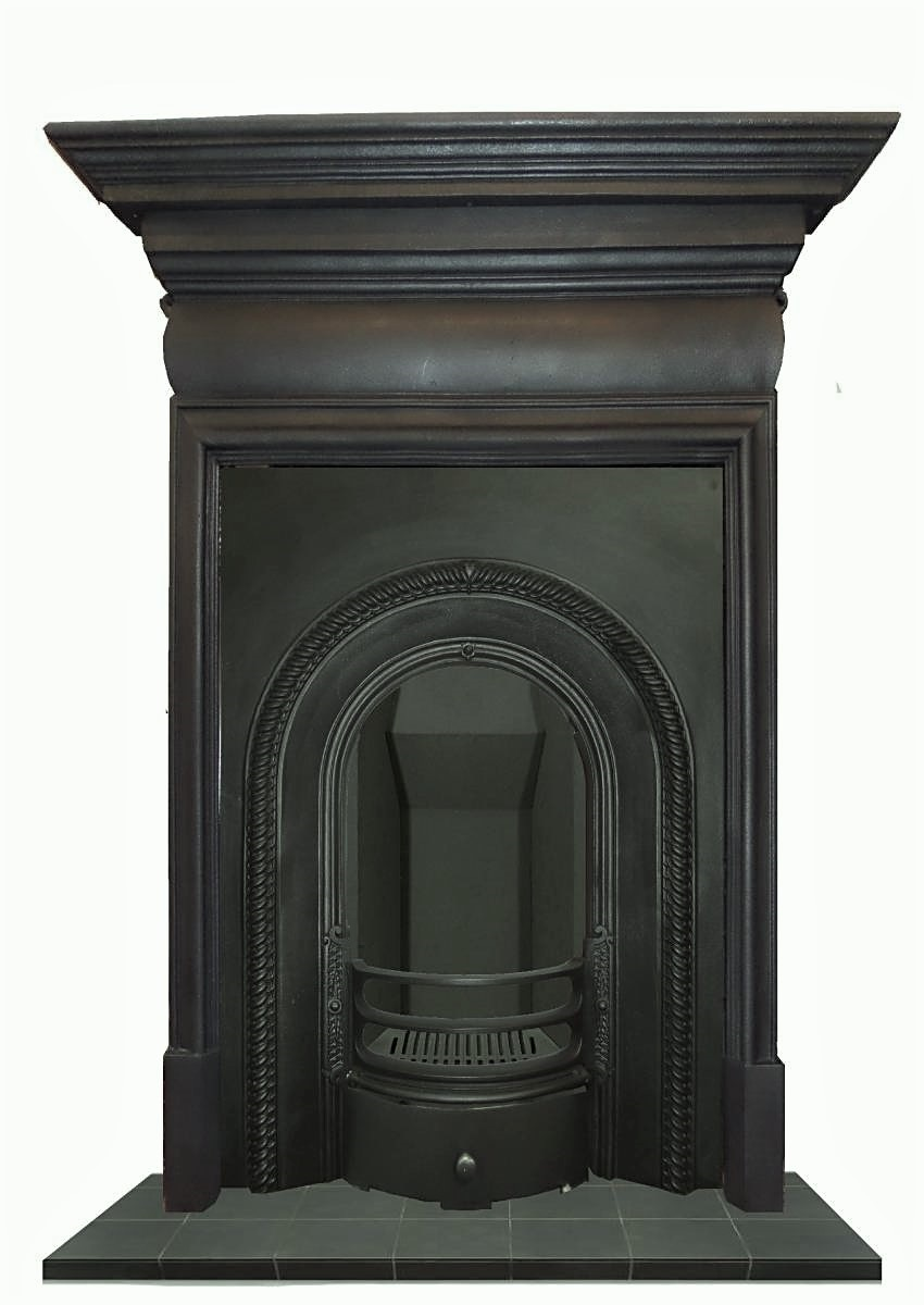 antique cast iron arched fireplace insert
