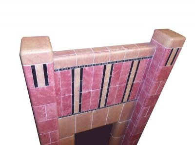 Antique Art Deco 1930s Tiled Fireplace