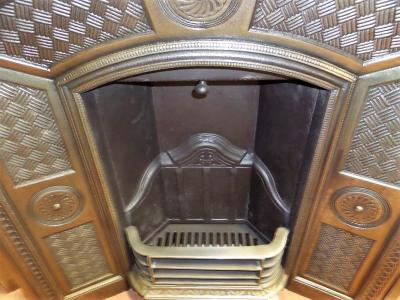 antique arched fireplace