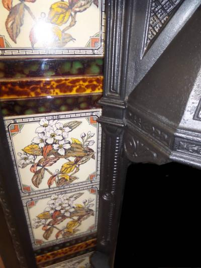 britain`s heritage antique Tiled Insert fireplace