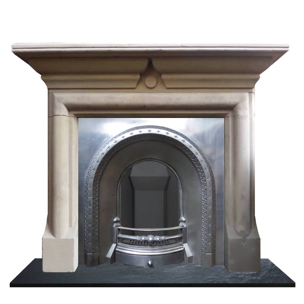 Antique Large Victorian Polished Pewter Arched Cast Iron Fireplace Insert