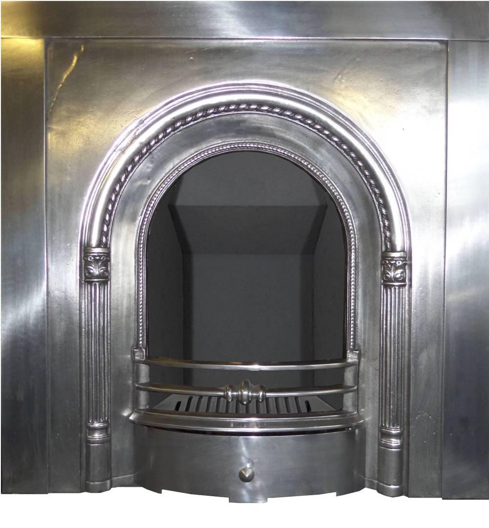 Antique Edwardian Polished Pewter Arched Cast Iron Fireplace Insert