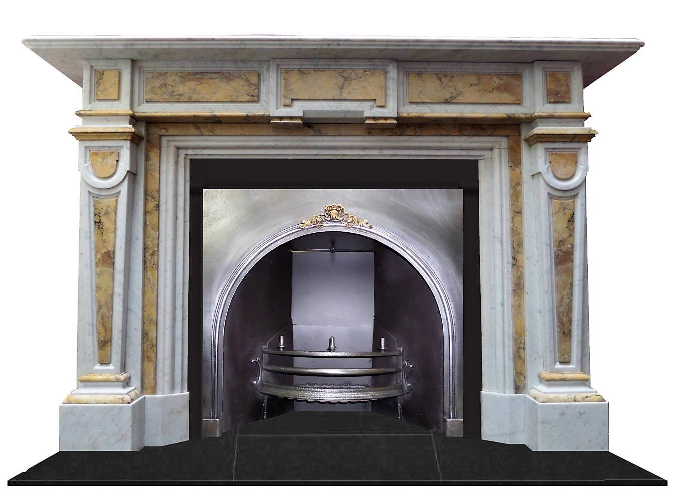 Antique Regency Victorian Polished Pewter Cast Iron Arched Fireplace Insert