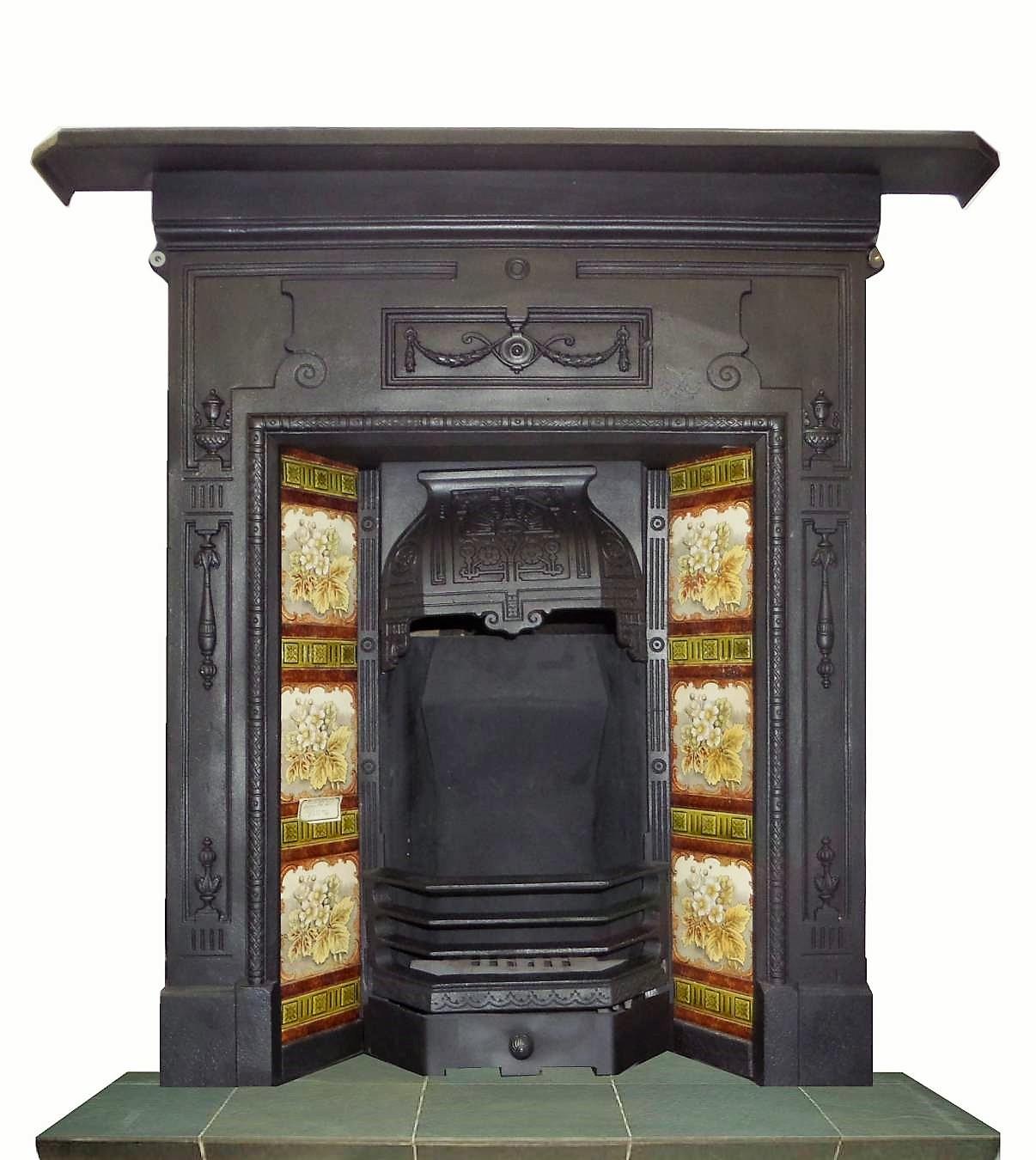 antique edwardian cast iron combination fireplace