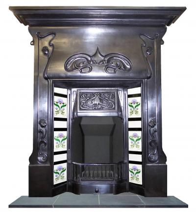 art nouveau polished fireplace