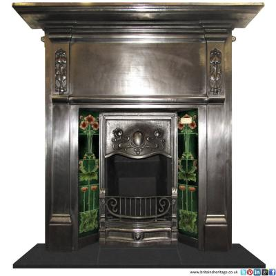 antique Victorian art nouveau fireplace
