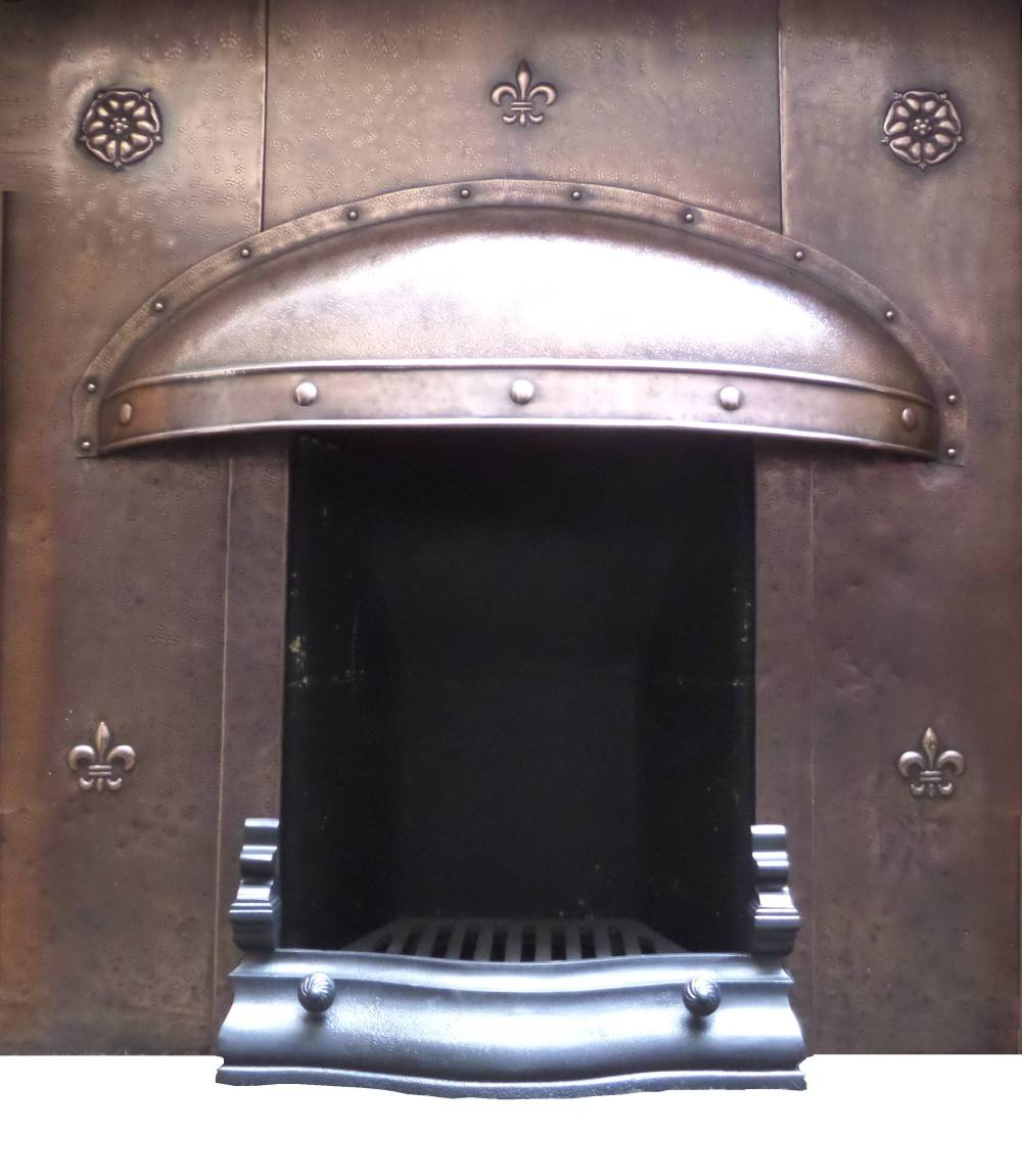 antique copper arts and craft cast fireplace insert