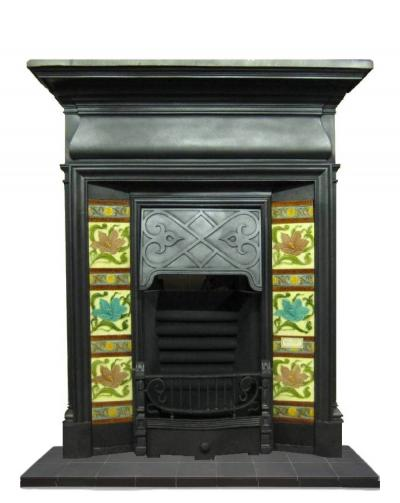Antique Art Nouveau Cast Iron Combination Fireplace