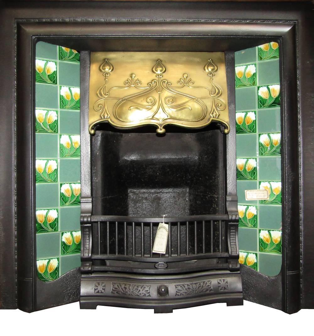 Excellent Buy Online Antique Art Nouveau Cast Iron Brass Fireplace Insert For Tiles Download Free Architecture Designs Pushbritishbridgeorg