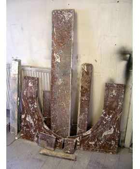 Antique Marble Surround Before Resoration in bits