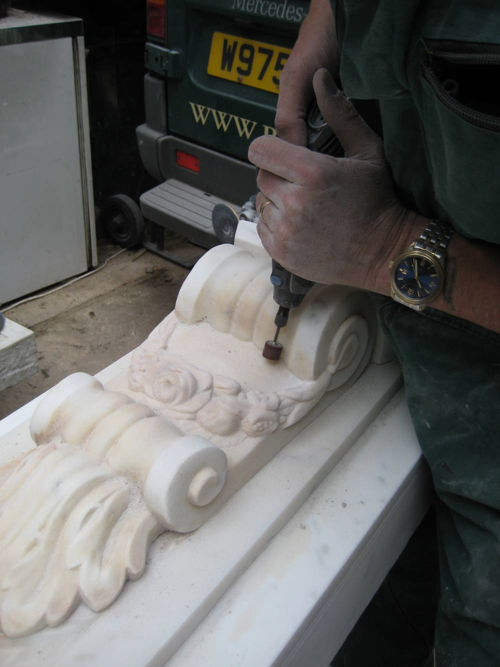 Grinding fine detail on a Marble Surround