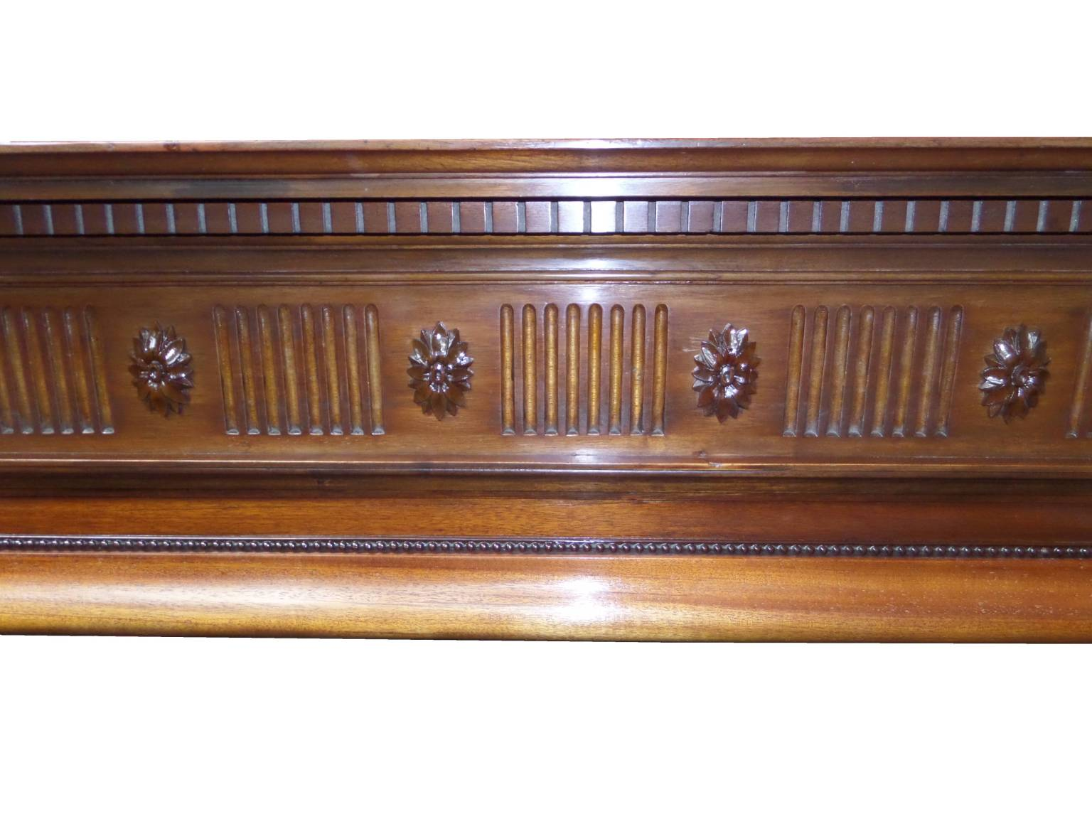 Antique Edwardian Mahogany Wood Mantel Fireplace Surround