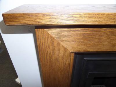 Oak wood mantel fireplace surround