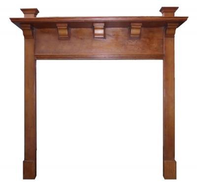 Antique Arts & Craft Pitch Pine Surround