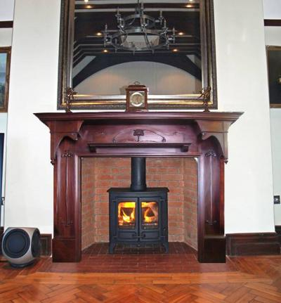 stove and wood surround