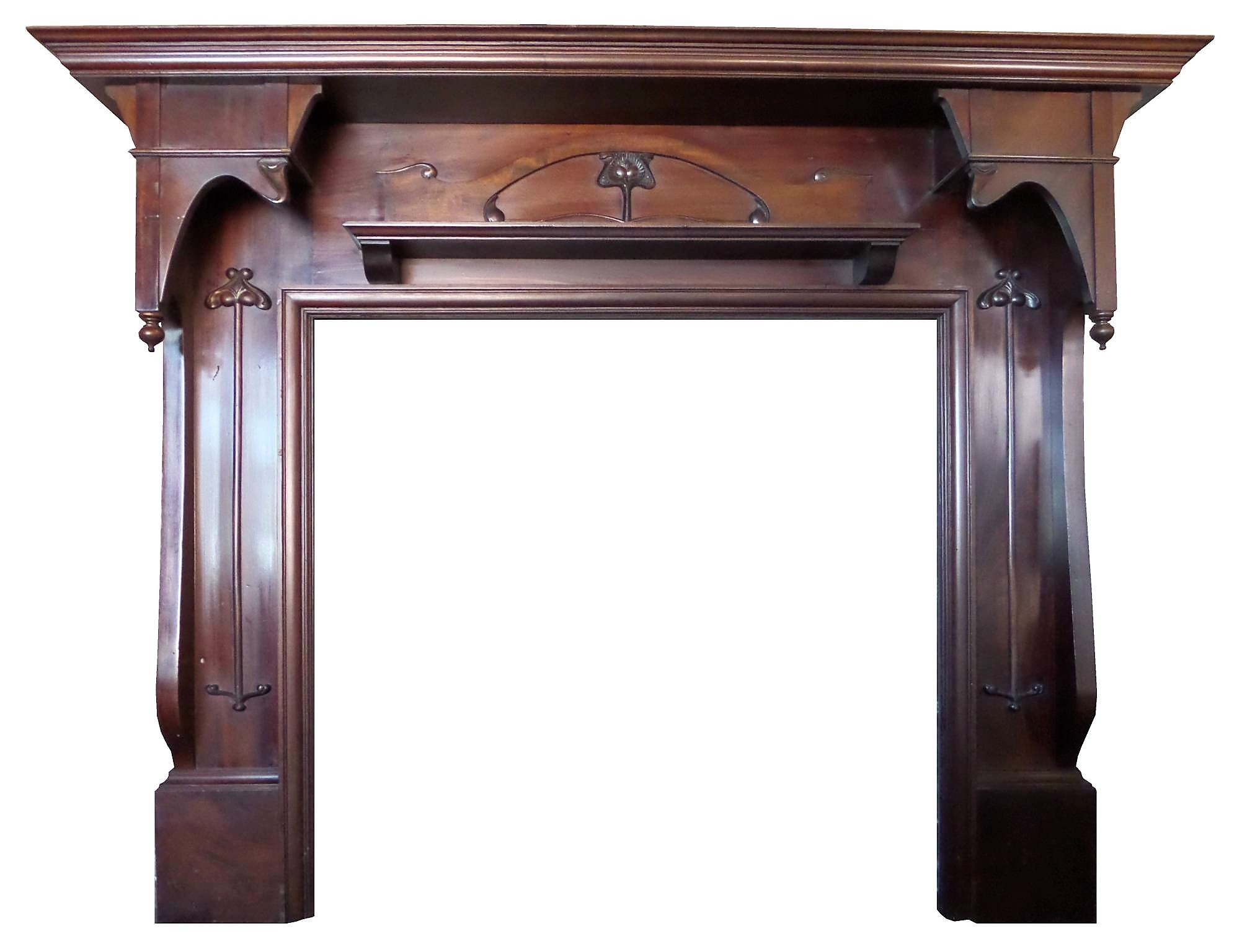 antique large mahogany art nouveau wood fireplace mantel surround