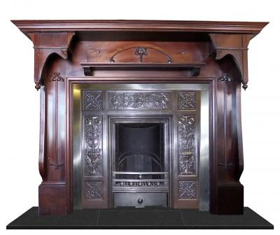 antique mantel cast iron fireplace