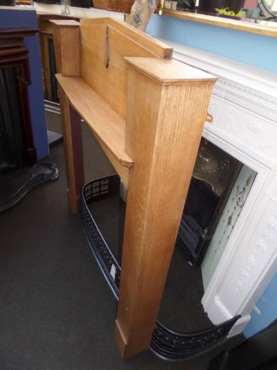 Antique Unusual Art Deco Oak Fireplace Surround
