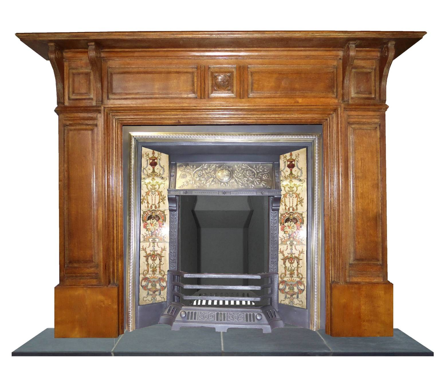 Antique edwardian oak wood mantel fireplace surround