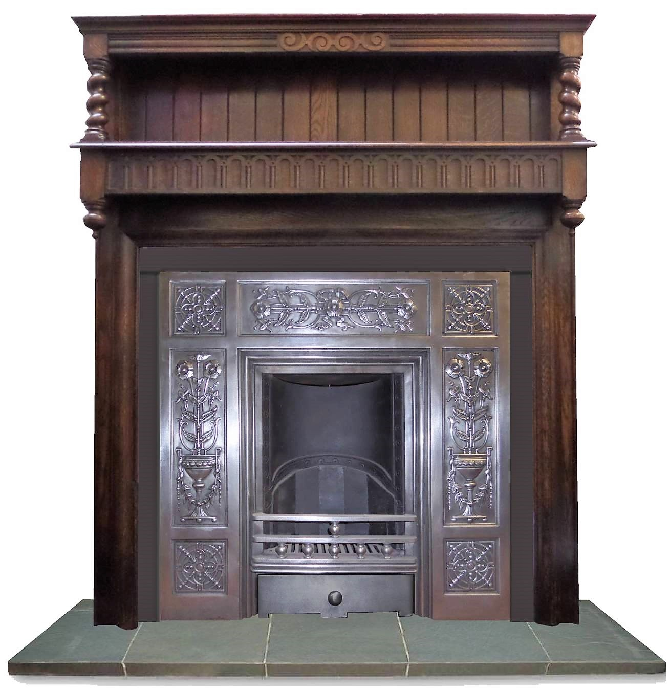 antique arts and craft oak fireplace surround