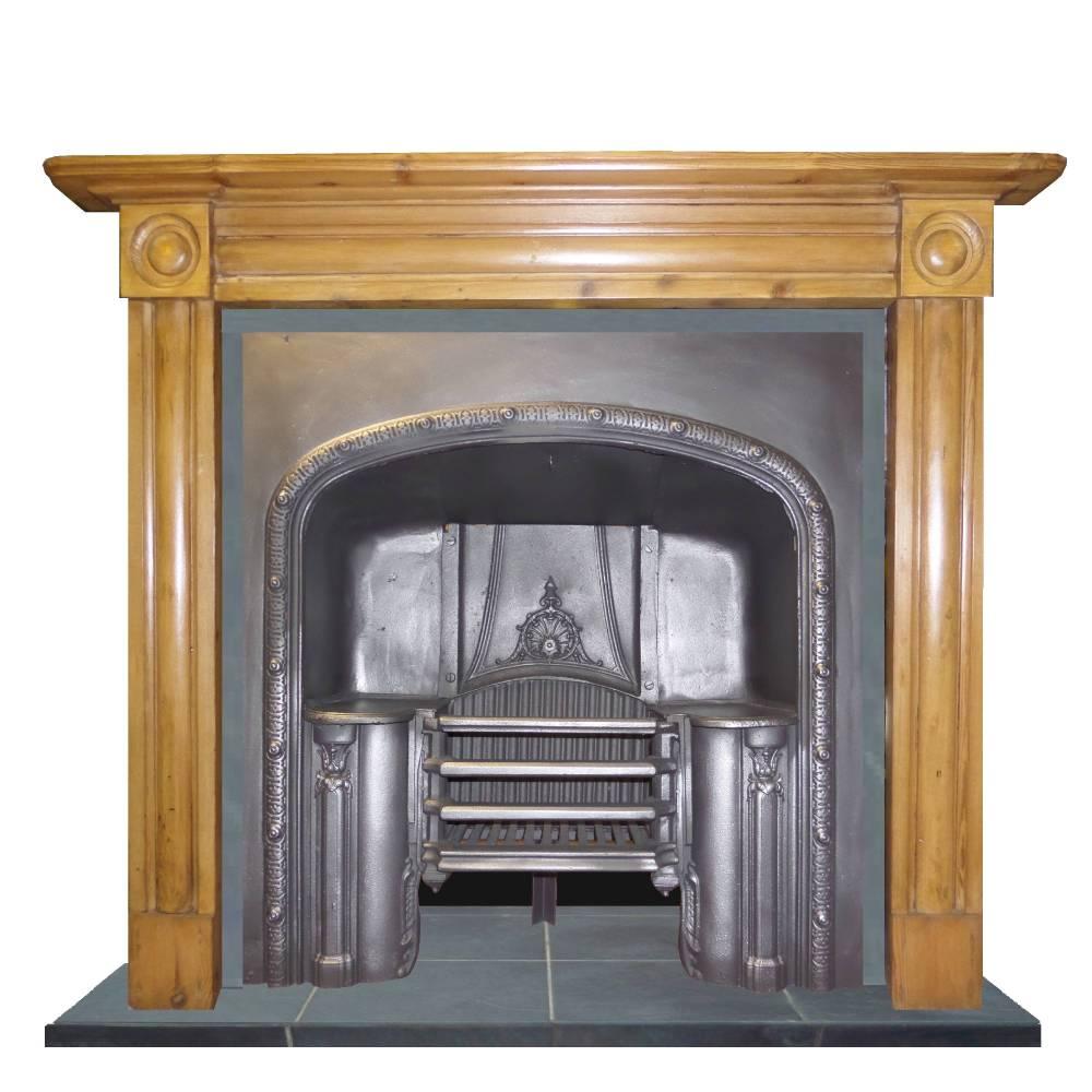 Antique Georgian Pine Wood Mantel Fireplace Surround