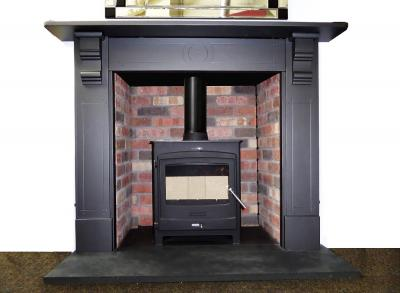 antique slate fireplace stove surround