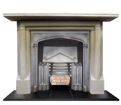 antique stone fireplace stove surround