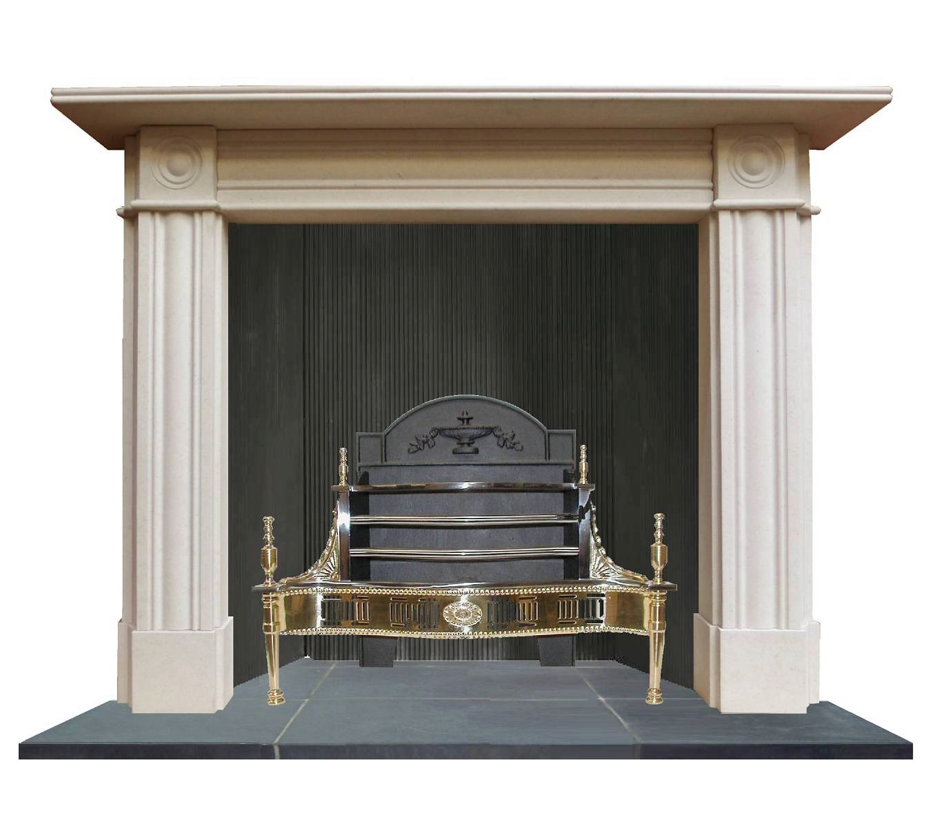 regency bullseye period limestone fireplace surround