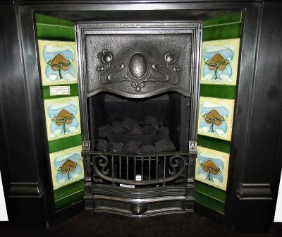art nouveau fireplace tiles