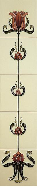 Red Tulip on Ivory Tile Set