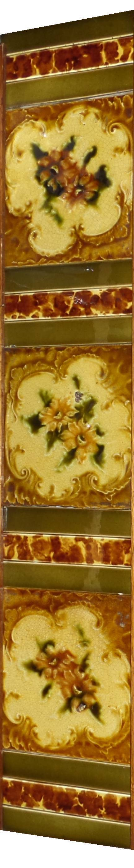 antique fireplace tile set