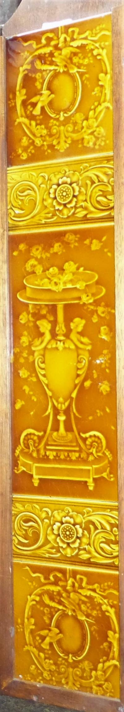 Antique Victorian Golden Majolica Tile Set