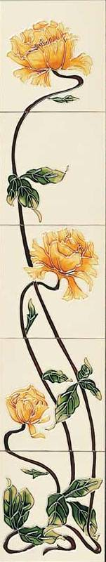 Reproduction Yellow Rose on Ivory Tile Set